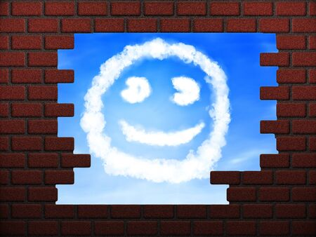 Illustration of smile cloud sign in hole in brick wall. illustration