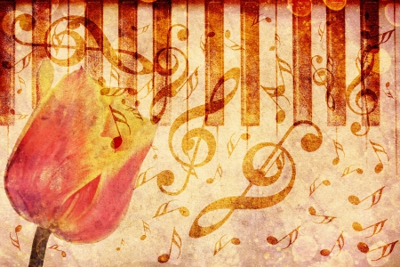 Vintage grunge background with tulip and music notes. photo