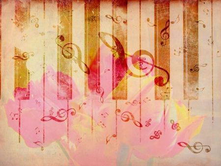 musical score: Vintage grunge background with tulip and music notes. Stock Photo