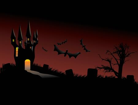 Illustration of halloween castle silhouettes with bats background. Stock Vector - 16003244