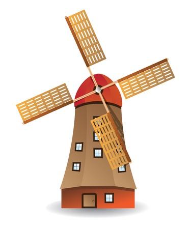Illustration du moulin vieux boisé isolé sur fond blanc. Vecteurs
