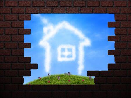 Illustration of broken brick wall with beautiful landscape behind Stock Illustration - 16003430