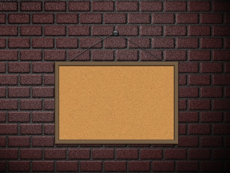 Illustration of blank cork board on old brick wall background  illustration