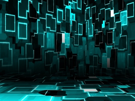 Illustration of cyber room, technology glowing background