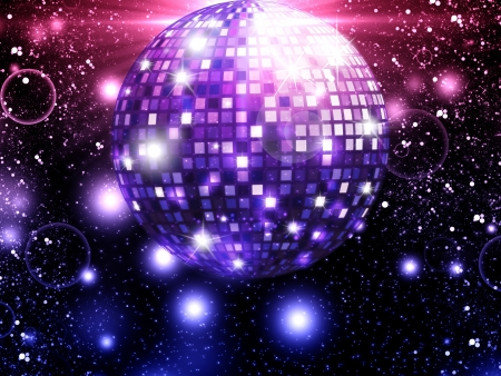 nightclub party: Illustration of big glowing mirror ball background  Stock Photo