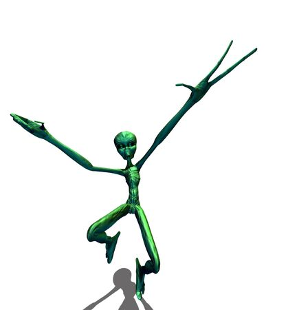 odd: Abstract 3d render of green alien on white background.