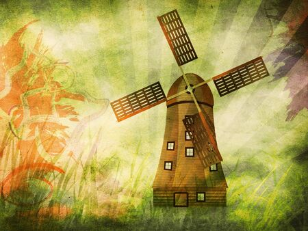 Abstract colorful illustration of grunge windmill background. illustration