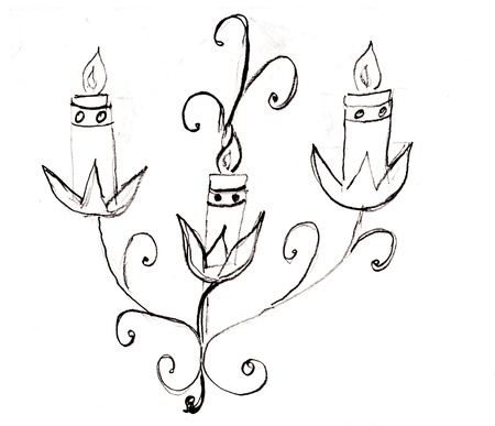 Abstract hand drawn candles in black and white style. Stock Photo - 16003272