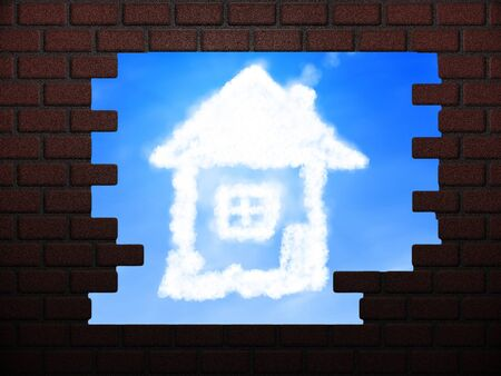 Illustration of cloud house and blue sky in hole in brick wall. Stock Illustration - 16003427