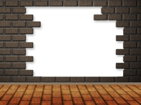 Abstract illustration of room with hole in brick wall with wood floor. illustration