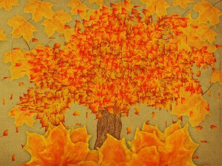 Grunge illustration of autumn leaves and tree on paper background. illustration