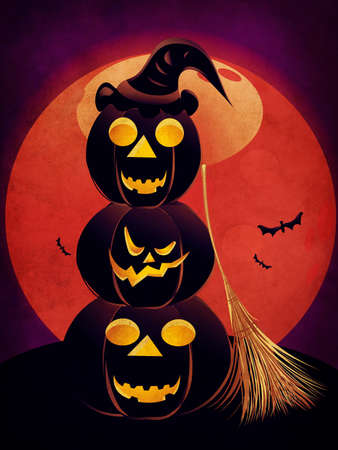 Illustration of halloween pumpkins silhouettes with red moon background. illustration