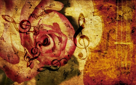 fiddles: Vintage grunge background with rose and music notes.