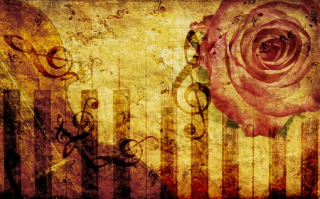 Vintage grunge background with rose and music notes. photo