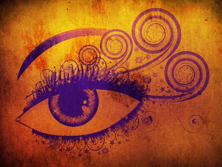 Illustration of woman eye of violet color with swirls on grunge background. Stock Illustration - 16212211