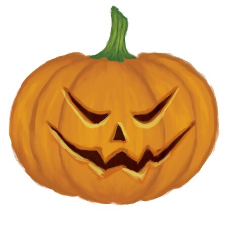 Digital illustration of big pumpkin with scary face on white background. illustration