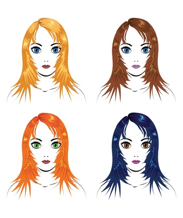 Illustration of four female with different color of hair  Stock Vector - 16212246