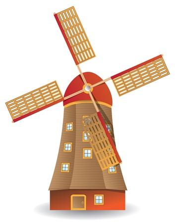 windmolen: Illustratie van oude beboste windmolen geïsoleerd op witte achtergrond Stock Illustratie