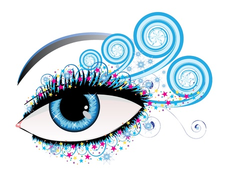 Illustration of woman eye of blue color with stars and swirls Stock Vector - 16212235