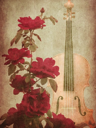 Illustration of grunge background with red roses and violin. illustration