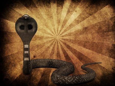 spectacled: Illustration of 3d cobra snake on grunge background. Stock Photo