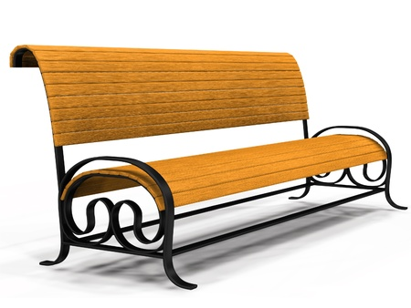 wooden bench: Illustration of 3d yellow park bench over white background. Stock Photo
