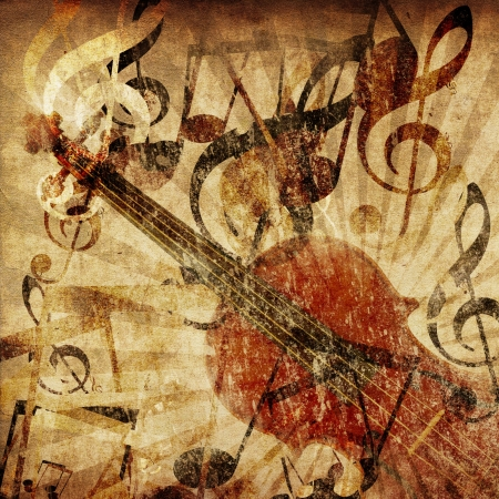 Grunge illustration of vintage music concept background with violin. illustration