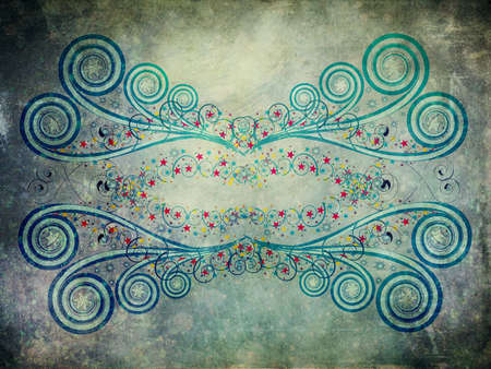 Abstract digital illustration of blue ornament with colorful stars on grunge background. illustration