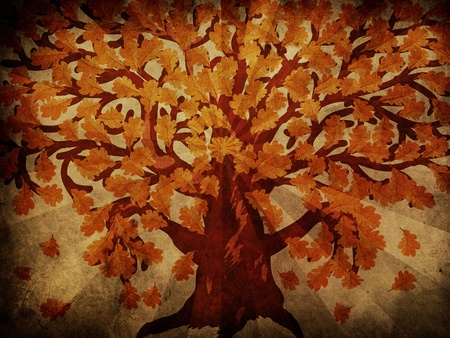 Grunge illustration of big oak tree with autumn leaves. illustration