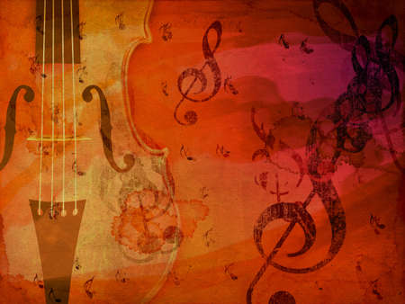 Grunge illustration of violin, music concept background. illustration