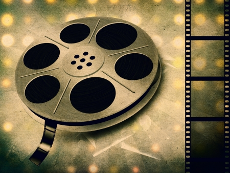 Grunge illustration of movie reel with tape background. illustration