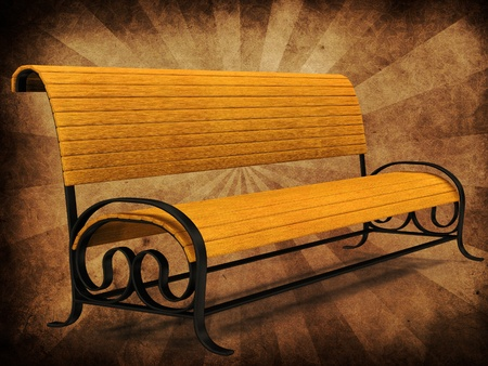 Illustration of 3d yellow park bench on grunge background. illustration