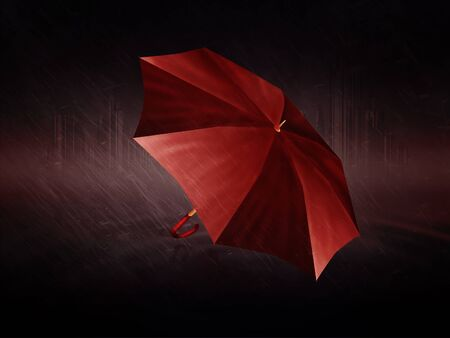 humid: Abstract digital illustration of wet red umbrella and rainy weather.