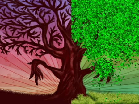 Abstract digital illustration of tree with green leaves and leafless, seasons background. illustration