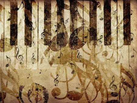 Grunge illustration of vintage music concept background with piano. illustration