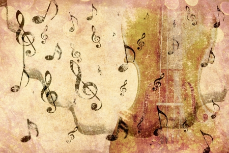 Grunge illustration of vintage music concept background with violin. Stock Photo