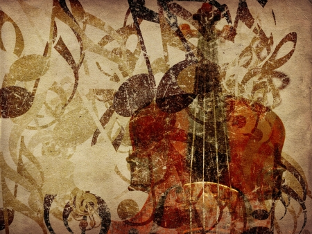 concerto: Grunge illustration of vintage music concept background with violin. Stock Photo