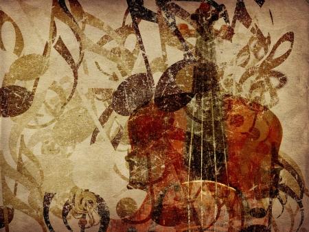 orquesta: Grunge ilustraci�n de fondo de la vendimia concepto de la m�sica con el viol�n. Foto de archivo