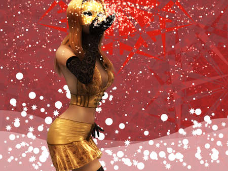 Illustration of a beautiful woman in golden mask on red background. illustration
