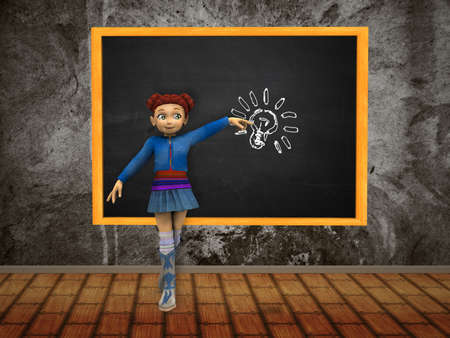 Illustration of cartoon girl point at light bulb on a chalkboardl. illustration
