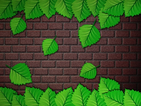 Illustration of colorful leaves against brick wall background. illustration