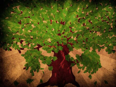 Grunge illustration of big oak tree with fresh green leaves. illustration