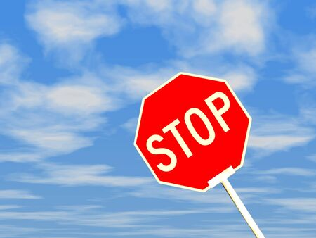 3d stop sign against blue sky and white clouds. photo