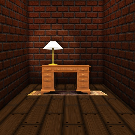 Illustration of old room with brick walls and table background.. illustration