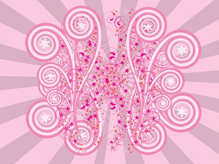Abstract digital illustration of pink ornament on pink rays background  illustration