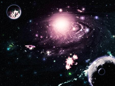 Far deep space abstract galaxy with planets and space ships.