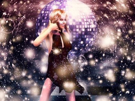 Illustration of 3d girl in red dress on disco party background. illustration