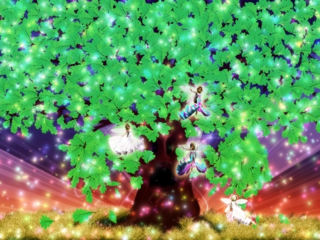 Illustration of a fantasy oak tree with fairies background. illustration