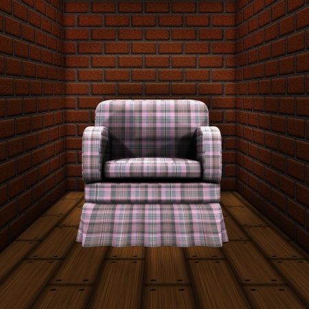 Illustration of old room with brick walls and armchair background.. illustration