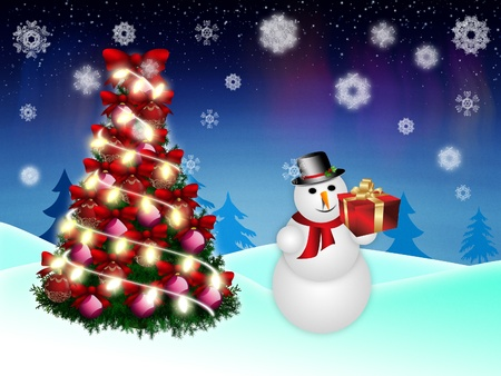 Illustration of winter background with cute snowman and Christmas tree. illustration